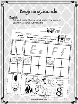 Beginning Sounds  Picture Sort, Find and Match