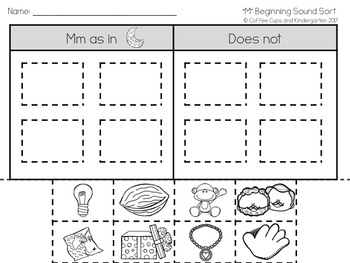 Beginning Sounds Picture Sort Freebie
