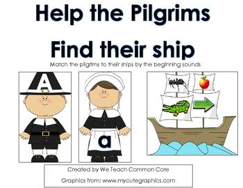 Beginning Sounds Pilgrim Matching Thanksgiving Activity Literacy Center