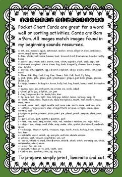 Beginning Sounds - Pocket Chart Cards