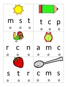Beginning Sounds Poke Activity: M S R T C N P A