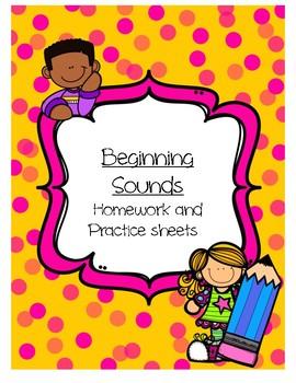 Beginning Sounds Practice/Homework Sheets