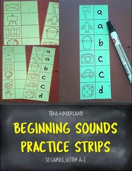 Beginning Sounds Practice Strips for PreK and Kindergarten {TeKa Kinderland}