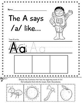 Beginning Sounds Printable Pack: Color, Cut, Paste & Write
