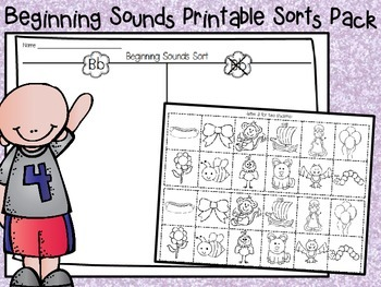 Beginning Sounds Printable Sorts Pack (CCSS)