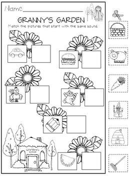 Beginning Sounds for Kindergarten Printables and Center Activities