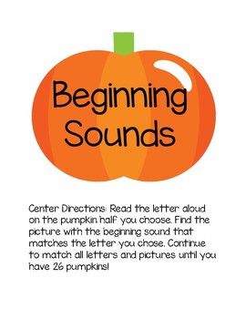 Beginning Sounds Pumpkin Matching Game