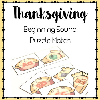 Beginning Sounds Puzzle- Thanksgiving Theme