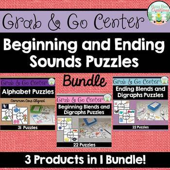 Beginning and Ending Sounds Puzzles - Bundle - Phonics Centers