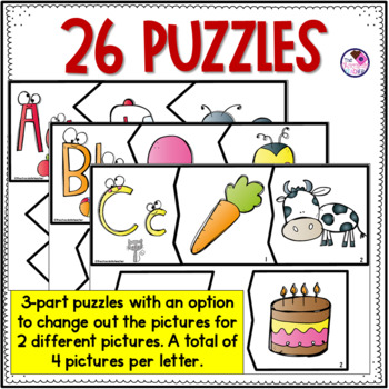 Alphabet Letters A to Z Beginning Sounds Puzzles **Easy Cut**