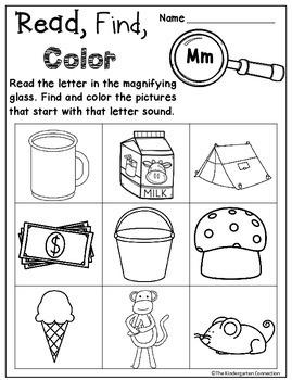 Beginning Sounds Read, Find, Color
