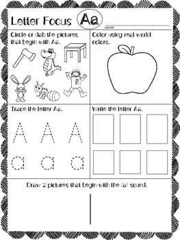 Beginning Sounds Readiness Worksheets