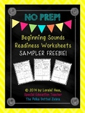 Beginning Sounds Readiness Worksheets Sampler