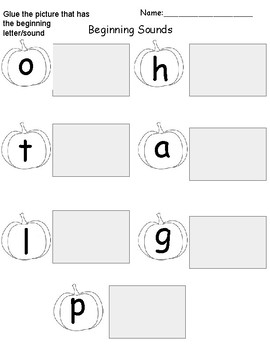 Beginning Sounds Review for letters LOGHTPA on pumpkins