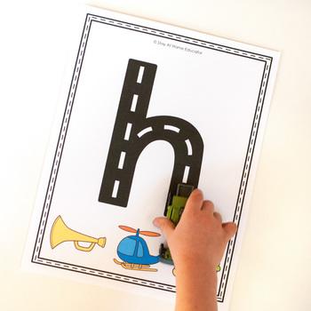 Beginning Sounds Roadway Letter Tracing Mats
