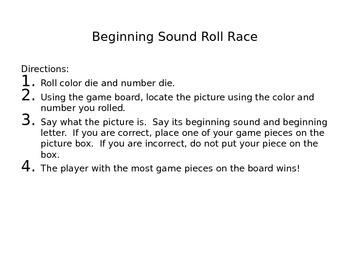 Beginning Sounds Roll Race
