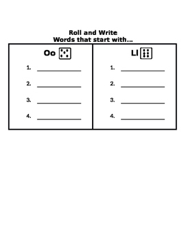 Beginning Sounds Roll and Write EDITABLE