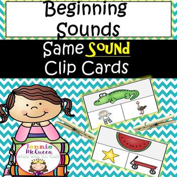 Beginning Sounds: Same Sound Clip Cards