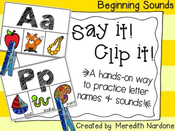 Beginning Sounds {Say It! Clip It!}