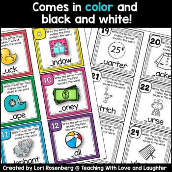 Beginning Sounds Task Cards or Scoot