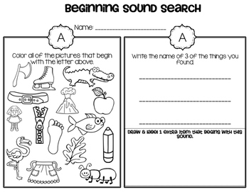 Beginning Sounds Search, Color, & Write
