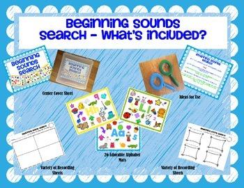 Beginning Sounds Search {I-Spy Alphabet Mats & Recording Sheets}
