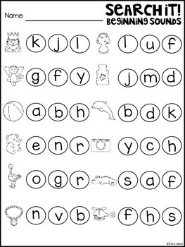 Beginning Sounds Search and Dot