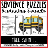 Beginning Sounds Sentence Building Puzzles FREE SAMPLE