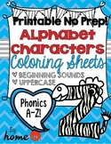 Alphabet Characters Beginning Sound Phonics Worksheets