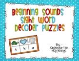 Beginning Sounds, Sight Word Decoder Puzzles
