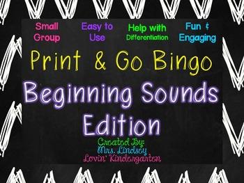 Beginning Sounds Small Group Bingo