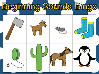 Beginning Sounds Small Group Bingo