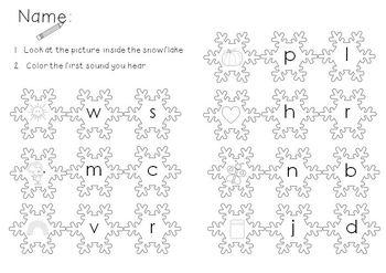 Beginning Sounds Snowflakes