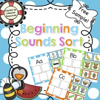 Beginning Sounds Sort / Concentration Game **Freebie**