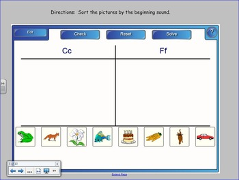 Beginning Sounds Sort for the SMART Board