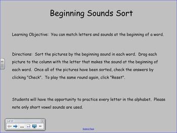 Beginning Sounds Sort for the SMART Board