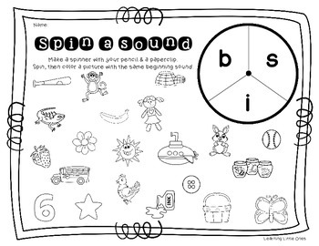 Beginning Sounds Spinners *No Prep!* Printables
