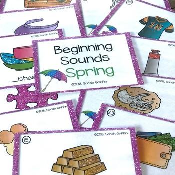 Beginning Sounds Spring Task Cards