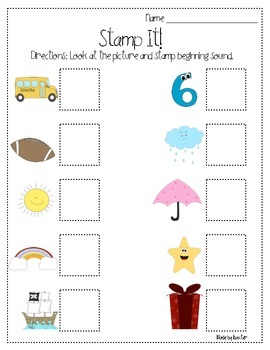 Beginning Sounds Stamp It Packet