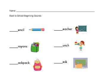 Beginning Sounds - Start of school
