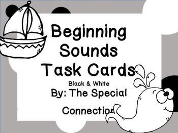 Beginning Sounds Task Cards: Black and White