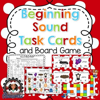Beginning Sounds Task Cards - Literacy Centers - Board Game