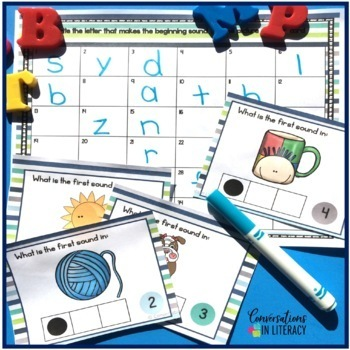 Beginning Sounds Task Cards with Sound Boxes