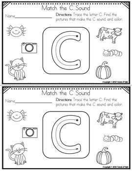 Beginning Sounds Tracing and Matching (Black and White)