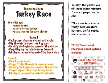 Beginning Sounds: Turkey Race Game November
