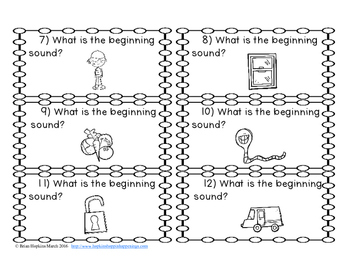 Beginning Sounds U to W Task Cards