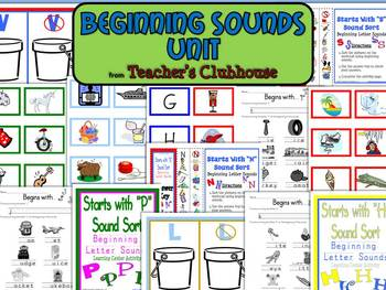 Beginning Sounds Unit from Teacher's Clubhouse