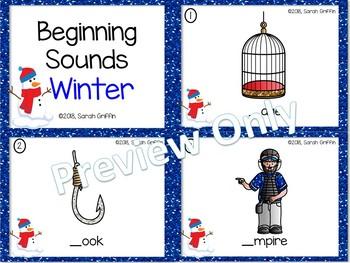 Beginning Sounds Winter Task Cards