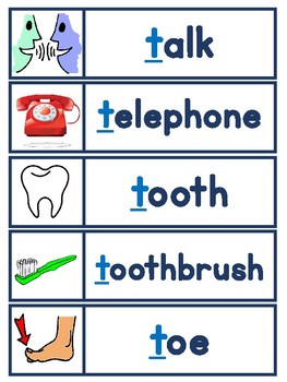 Beginning Sounds Word Banks - Set 1