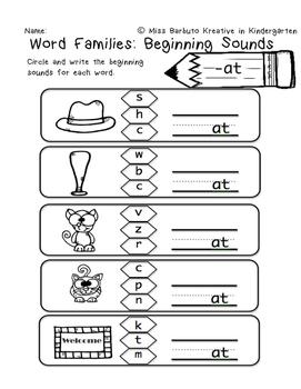 Beginning Sounds: Word Families -am, -at, -ut